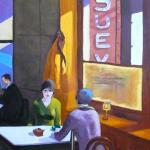 D'après Hopper, huile sur toile de Caroline