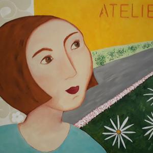 Atelier, acrylique sur toile de Cécile